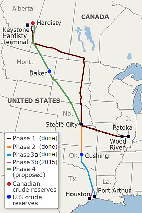 Keystone KL pipeline proposed route