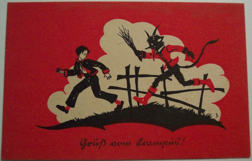 An 1900s postcard featuring Krampus
