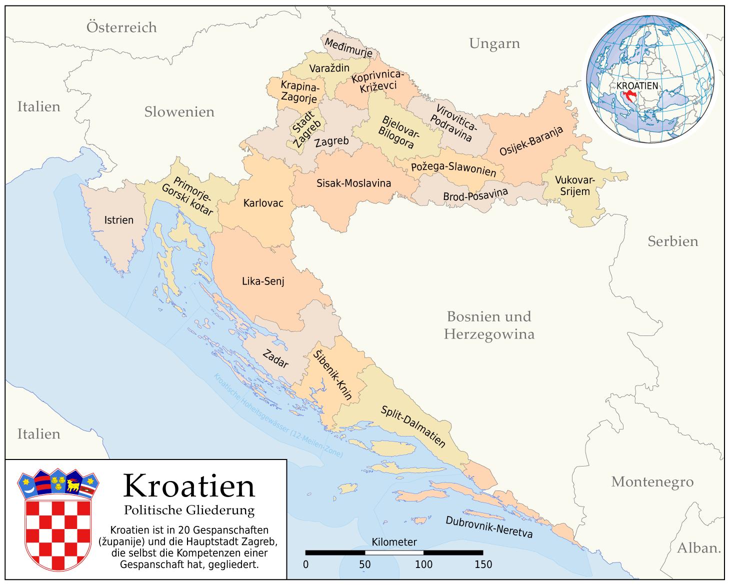 kroatien karte regionen Kroatien Karte Regionen kroatien karte regionen