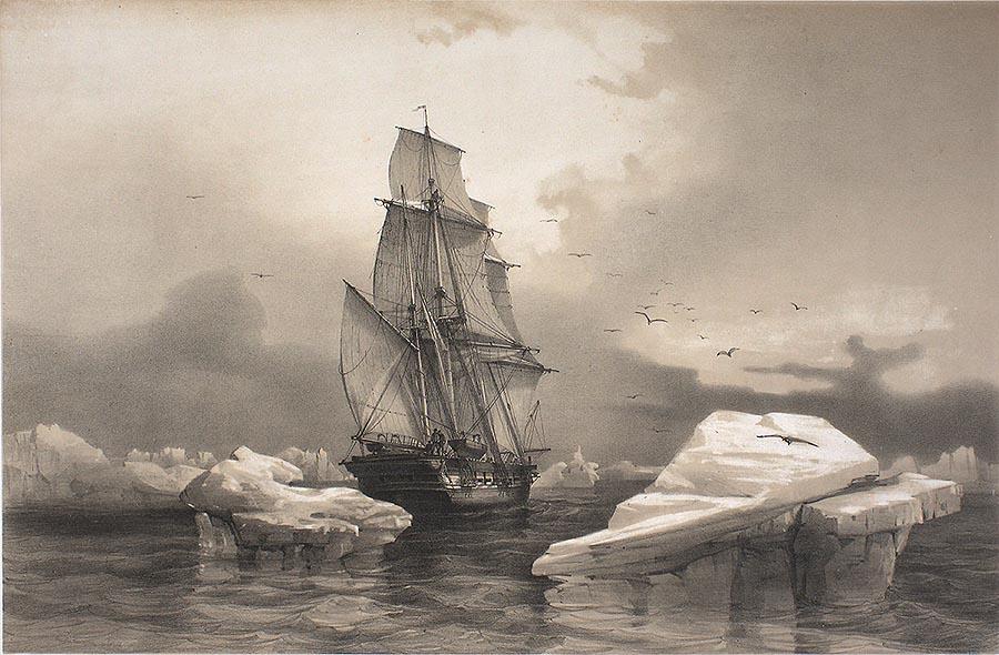 la recherche, voilier polaire historique, illustration exagérée pour le svalbard project...