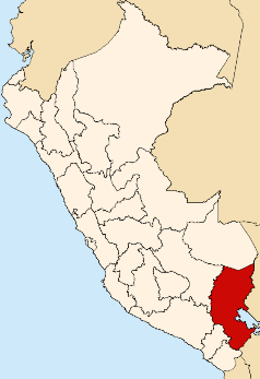 Location of the Puno region in Peru