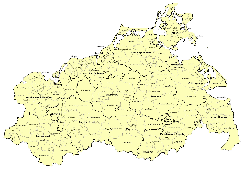 mecklenburg vorpommern karte File:Mecklenburg Vorpommern   Karte der Ämter und der amtsfreien