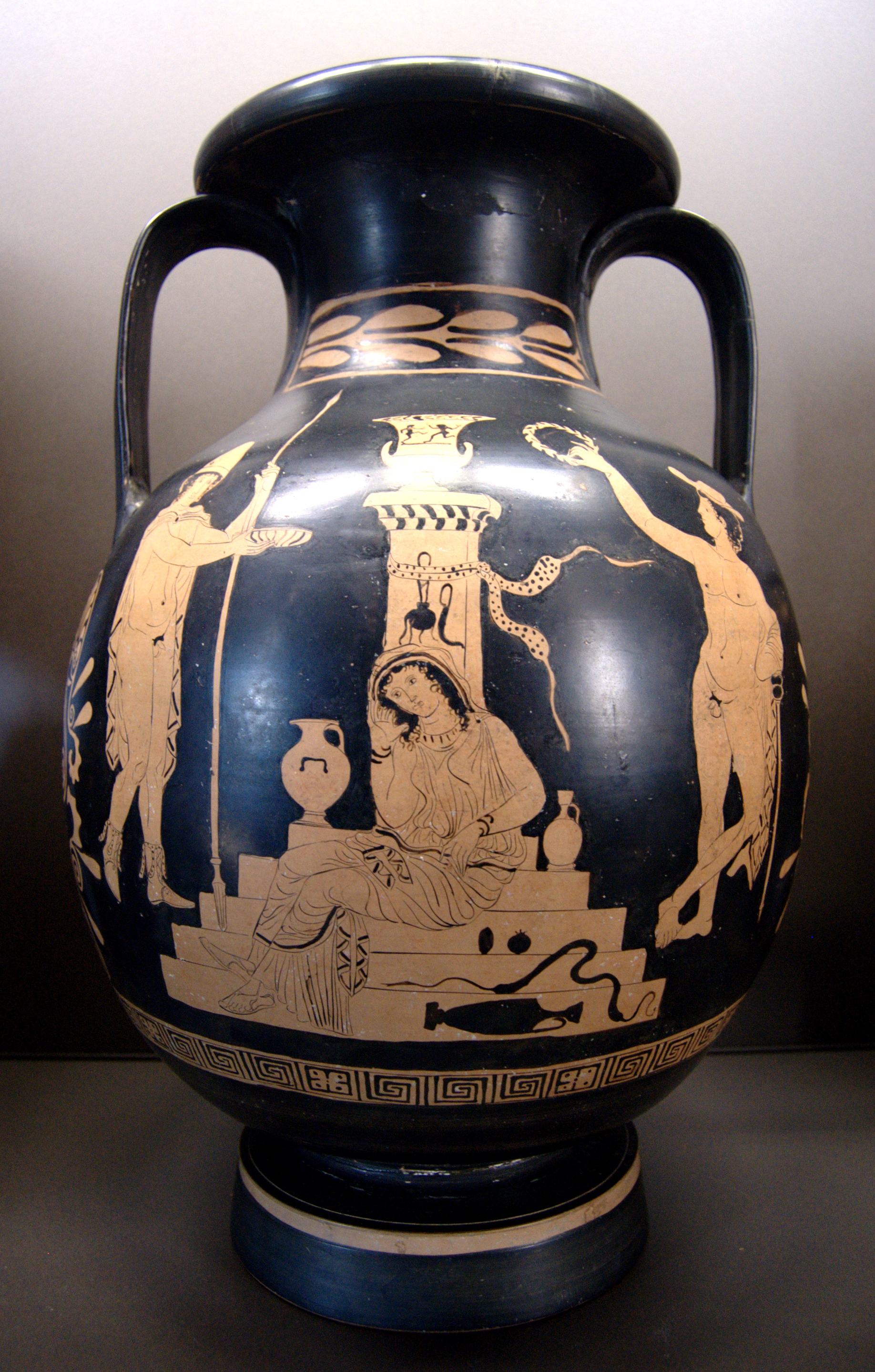 Lucanian vase painting wikipedia orestes elektra and hermes in front of the tomb of agamemnon pelike by the choephorai painter circa 380370 bc paris louvre floridaeventfo Image collections