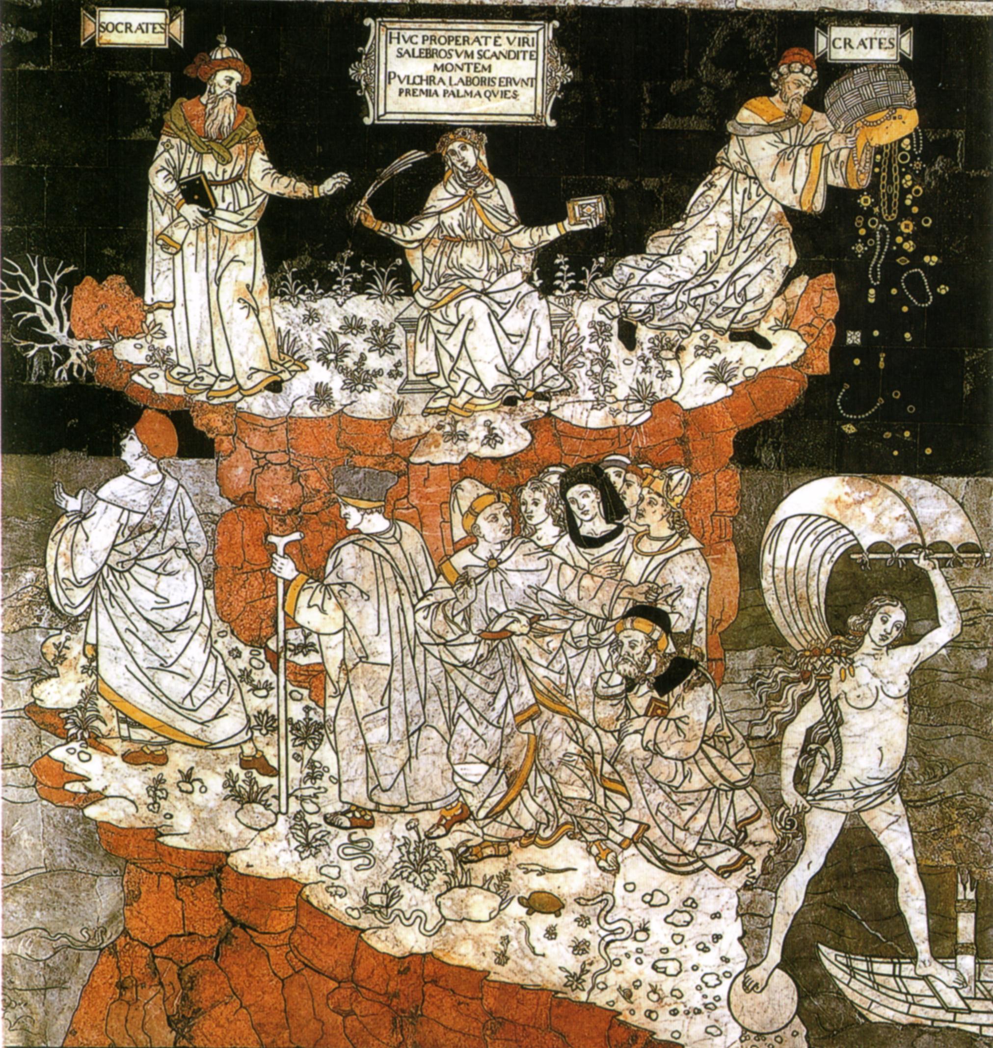 Pavimento di siena, allegoria del colle della sapienza (pinturicchio) 02.jpg