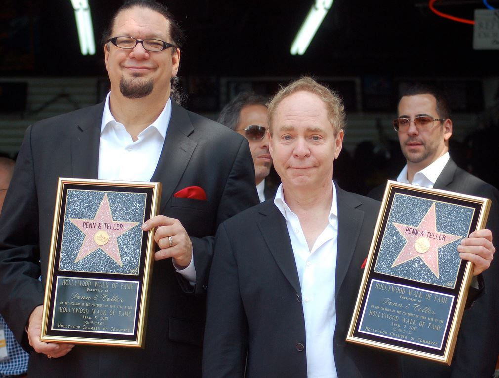 Penn & Teller at a ceremony to receive a star on the Hollywood Walk of Fame. (Credit: Angela George)