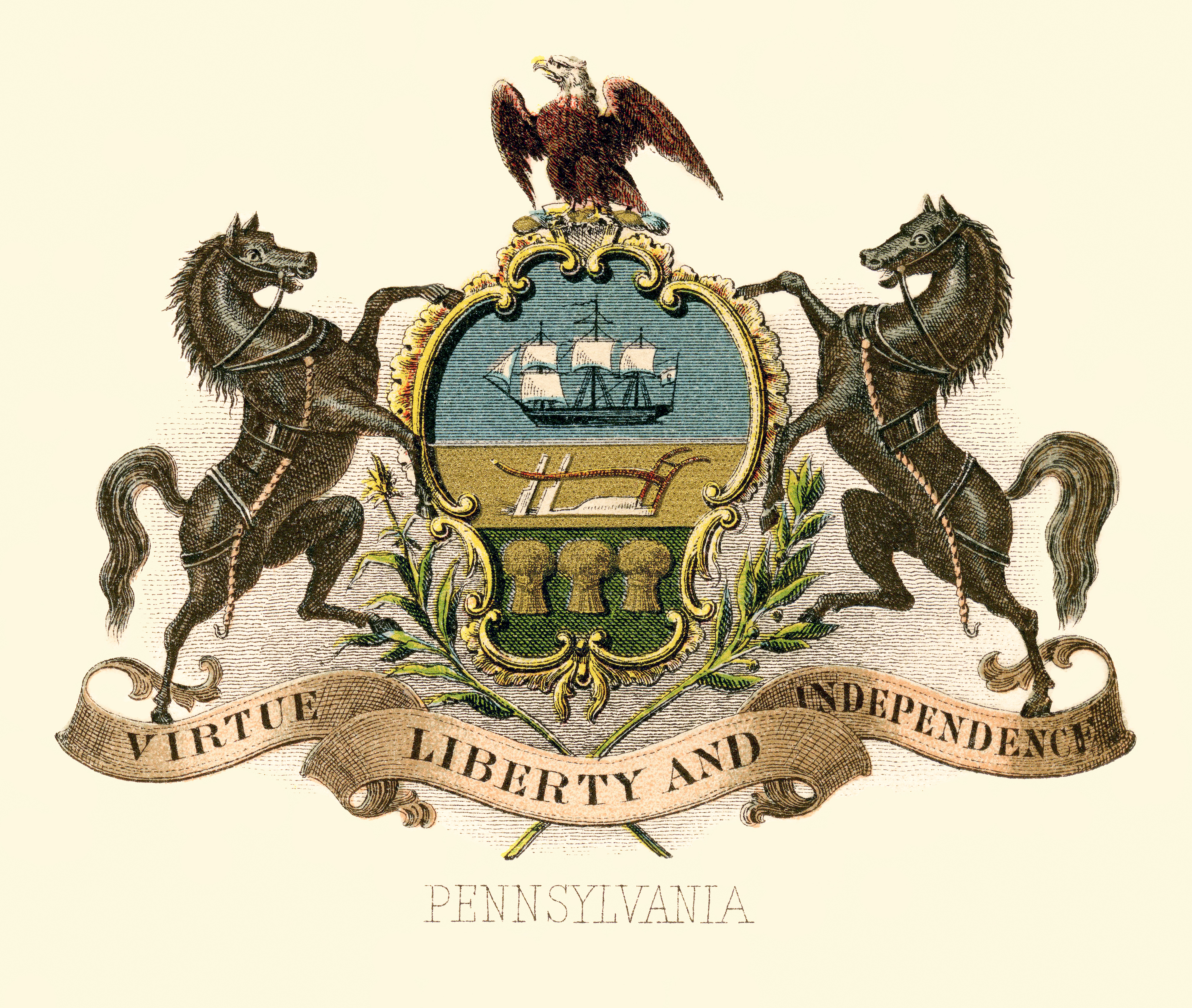 Pennsylvania State Coat Of Arms Illustrated 1876