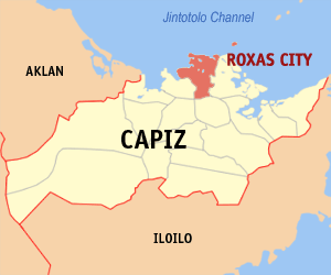 Map of Capiz showing the location of Roxas City