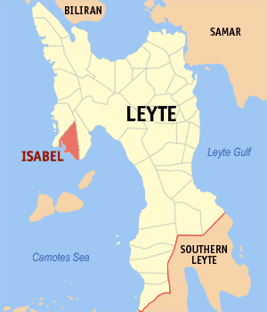 Map of Leyte showing the location of Isabel