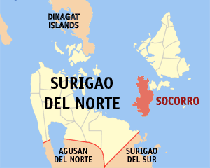 Map of Surigao del Norte showing the location of Socorro