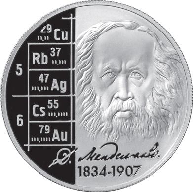 Памятная монета Банка России, посвящённая 175-летию со дня рождения Д.И.Менделеева. 2 рубля, серебро, 2009 год