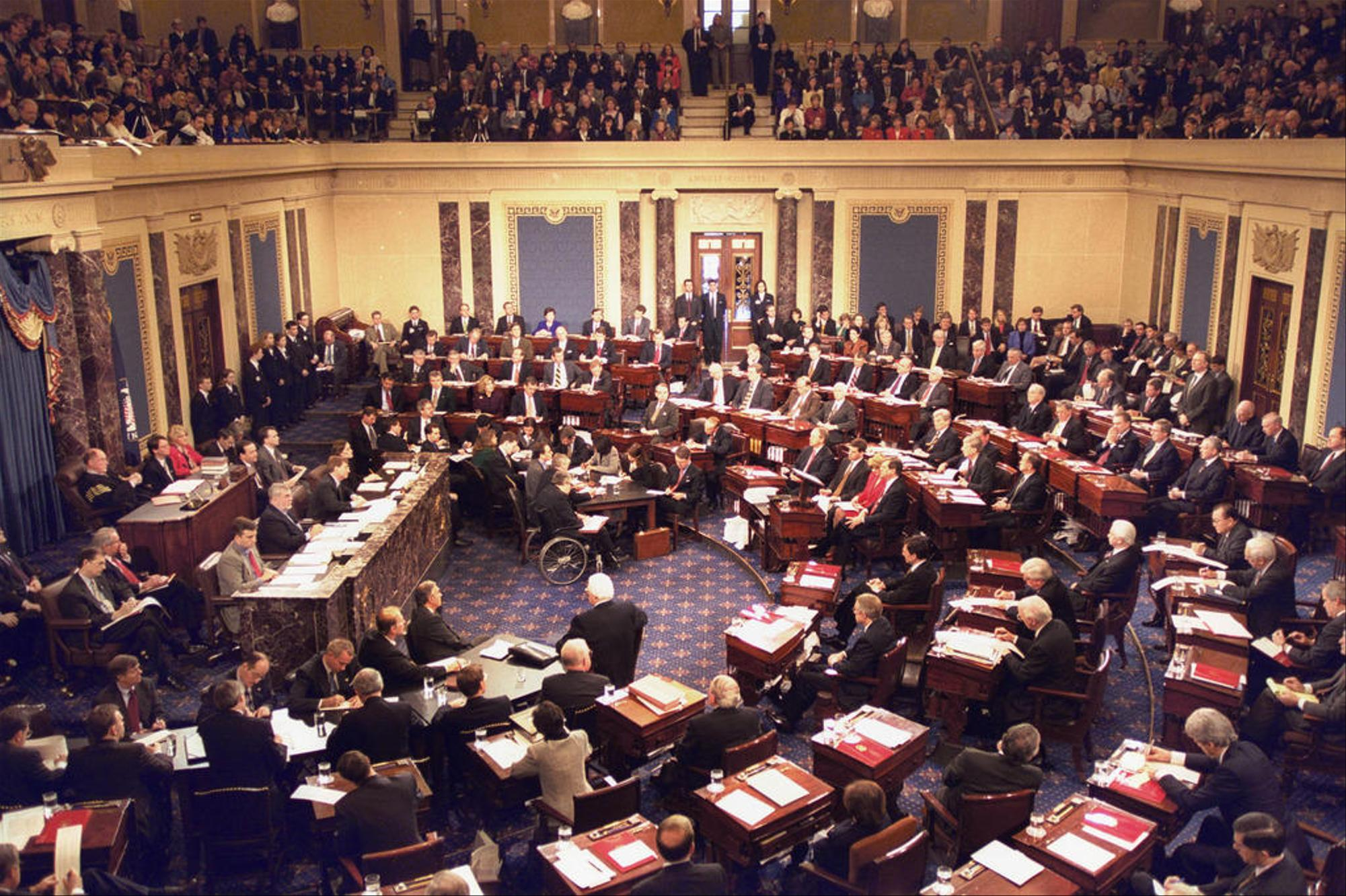 The impeachment trial of President Clinton in 1999, Chief Justice William Rehnquist presiding Senate in session.jpg
