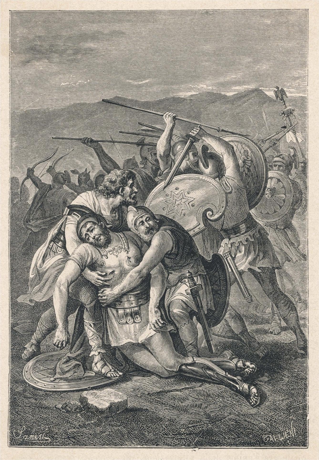 Spartacus is Killed, Nikolo Sanesi (painting before 1889)