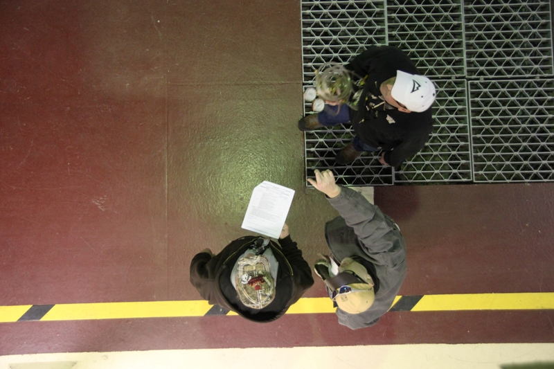 Stimulus jobs build skill sets, confidence (7402720850).jpg A worker and trainers walk through a work package to prepare for upcoming work at