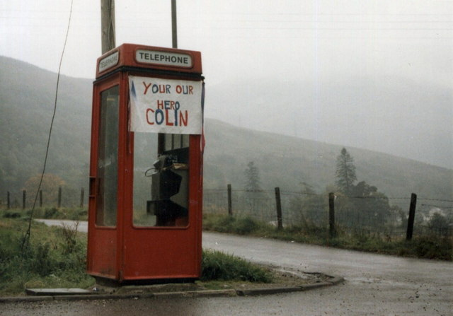 The phone box at Succoth looking lonely amid the misty hills (geograph 2913169)
