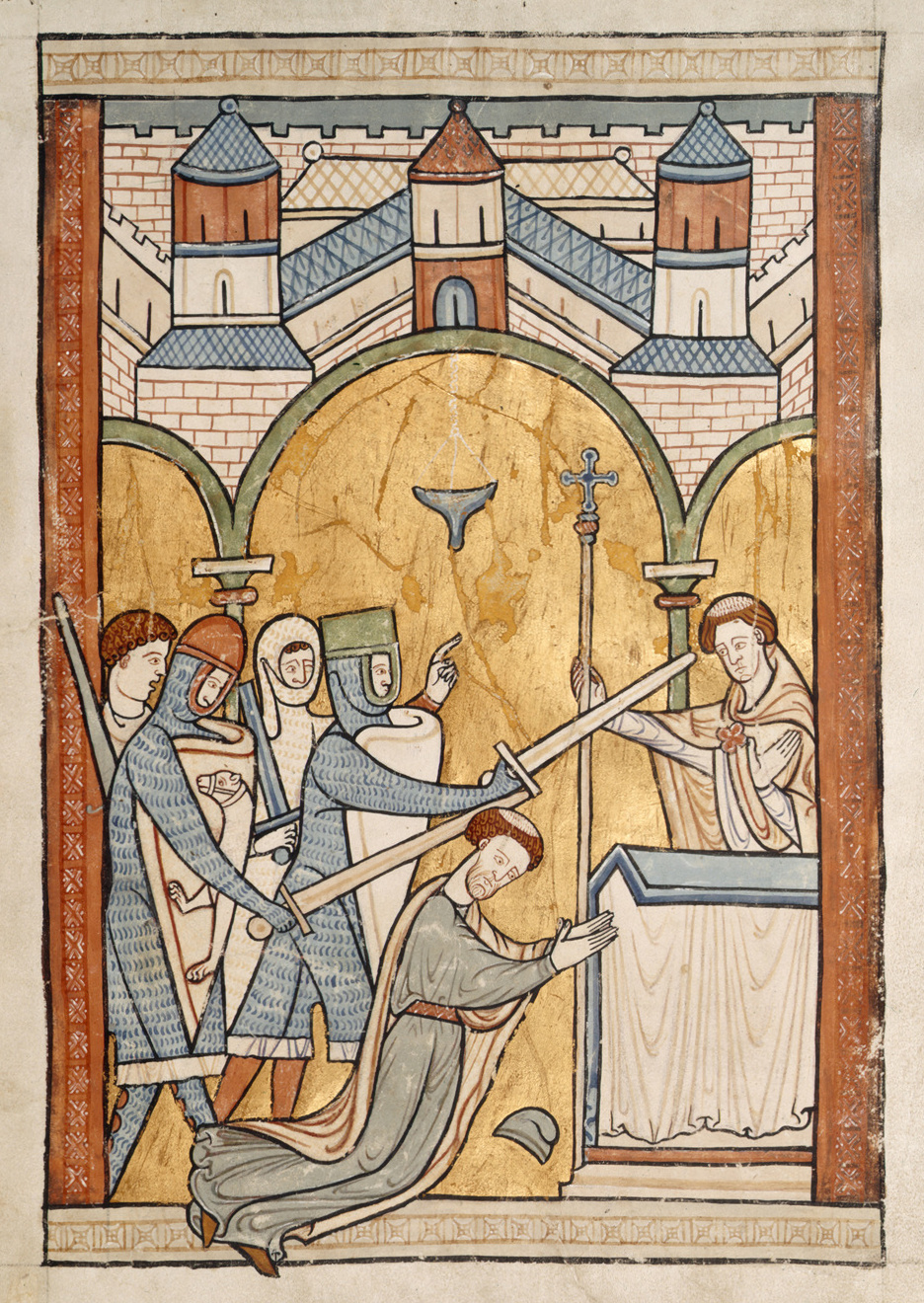 An image from a 13th century manuscript showing Thomas Becket's assassination in Canterbury Cathedral.