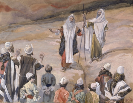 Moisés prohibe que lo siga la gente.  James Tissot Tissot_Moses_Forbids_the_People_to_Follow_Him
