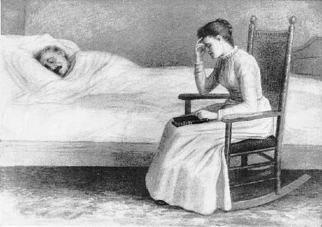 A woman sitting at a man's sickbed.