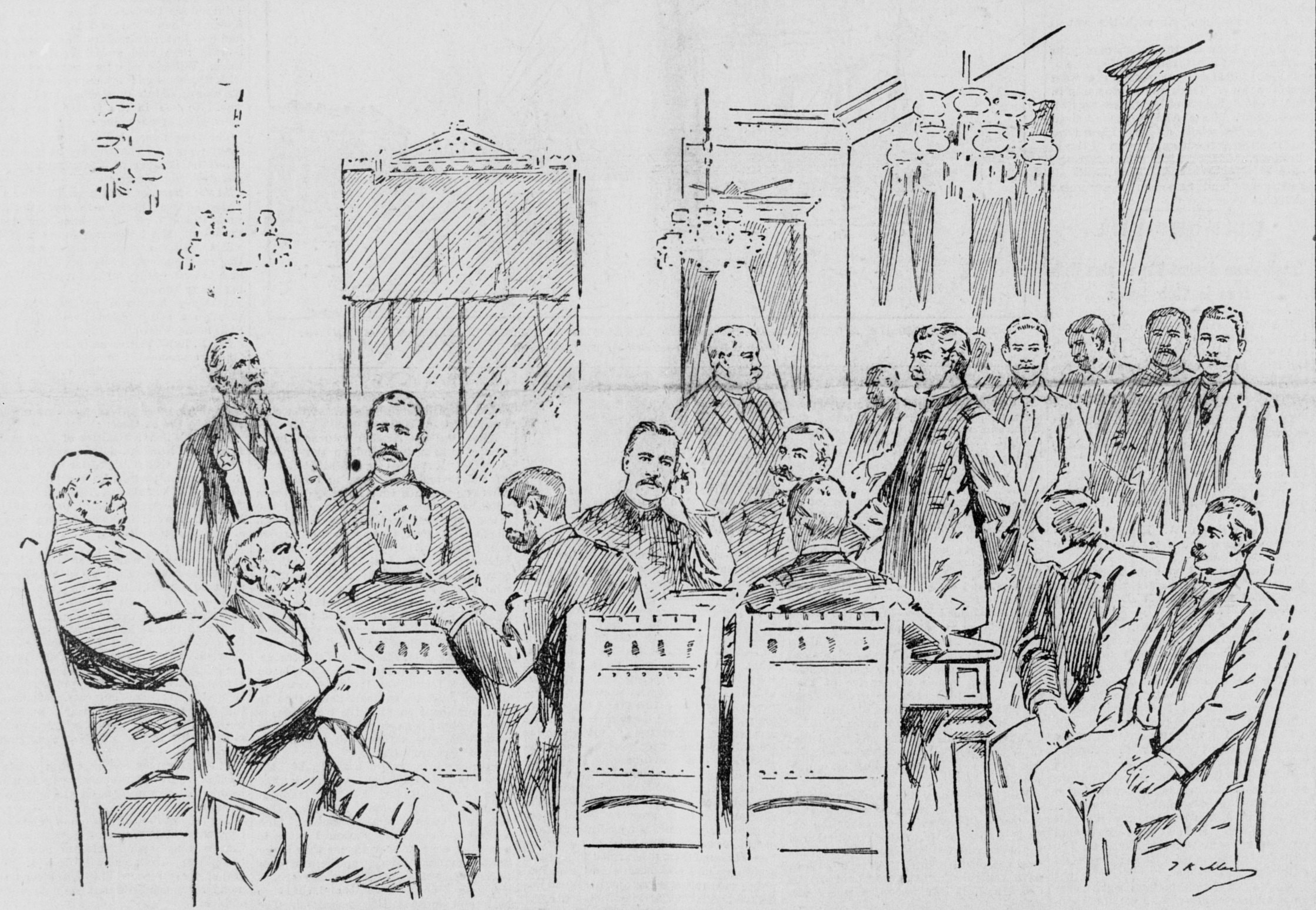 men at table in military uniforms, others standing