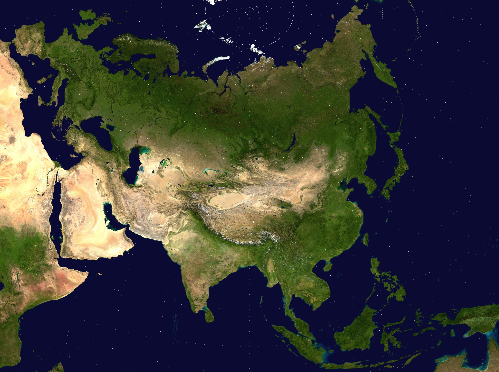 Eurasia with surrounding areas of Africa and Australasia visible
