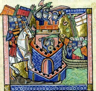 The 1124 siege of Tyre, 12th century illustration by William of Tyre Tyre being blockaded by the Venetian fleet and besieged by Crusader knighthood.PNG