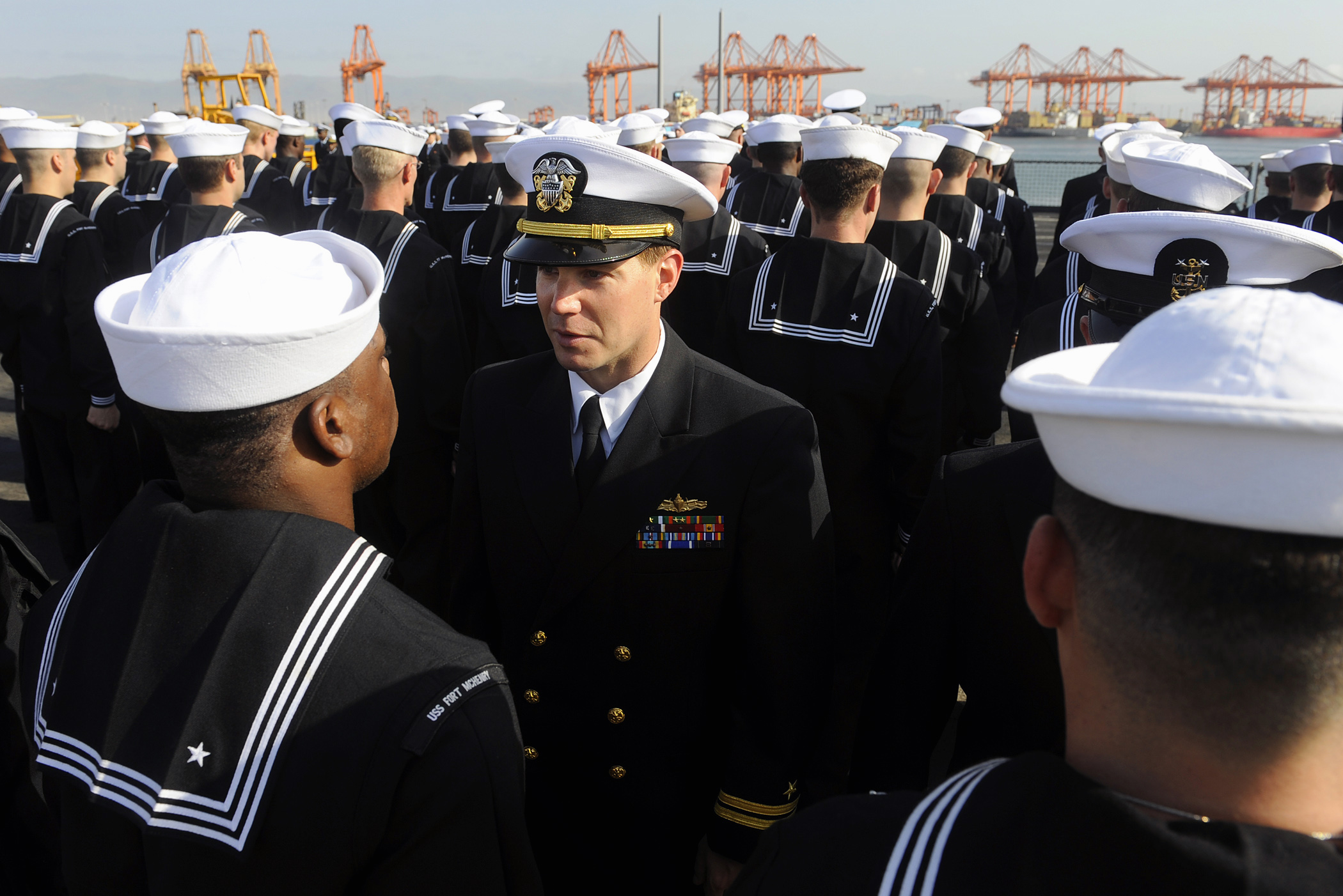 ... uniform inspection aboard the amphibious dock landing ship USS Fort
