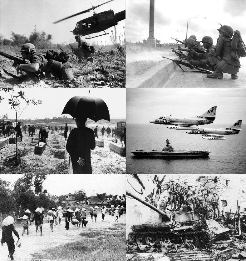 Multiple images of Vietnam War