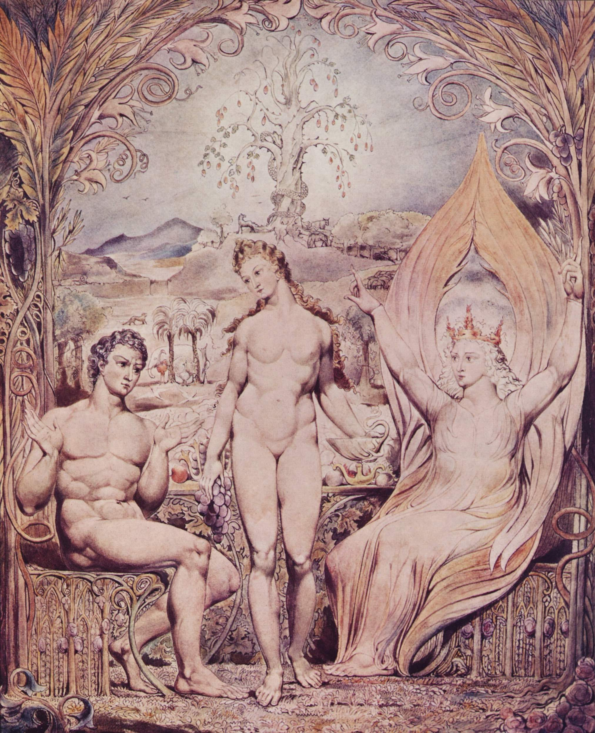 BLAKE, William Raphael Warns Adam and Eve (1808)