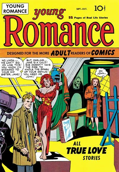 Jack kirby wikiwand young romance 1 oct 1947 cover art by kirby and simon fandeluxe Gallery