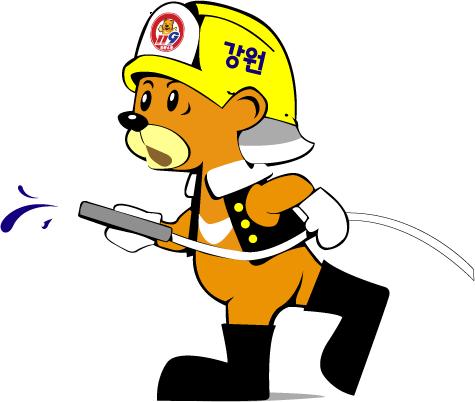 강원소방 동물 소방관 캐릭터 센곰이