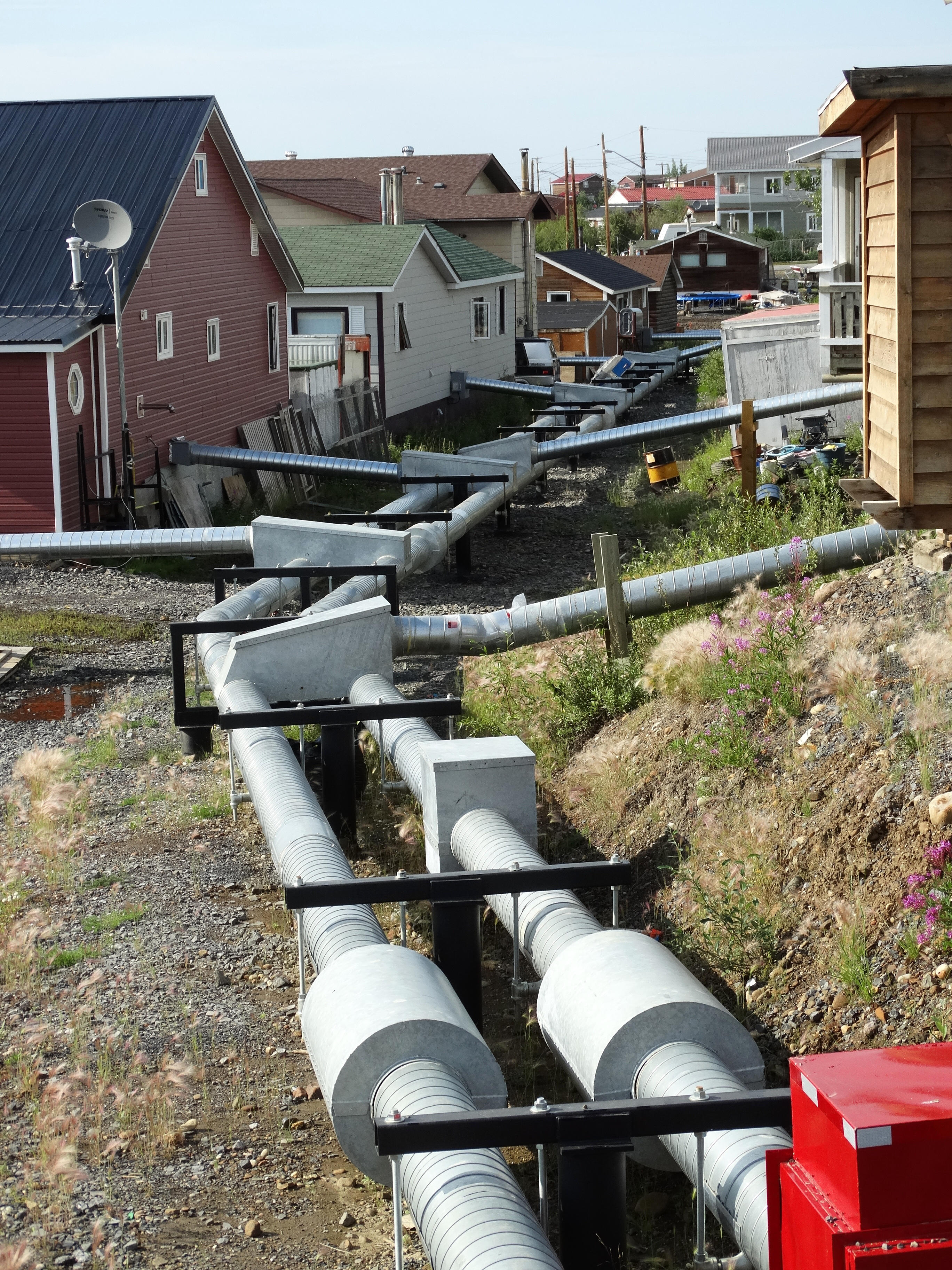File Above Ground Plumbing And Heating Pipes Inuvik Northwest Territories Canada