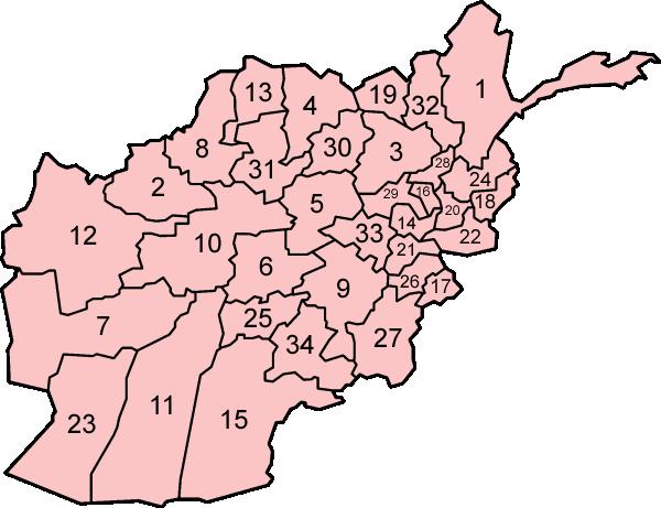Kort som viser provinserne i Afghanistan