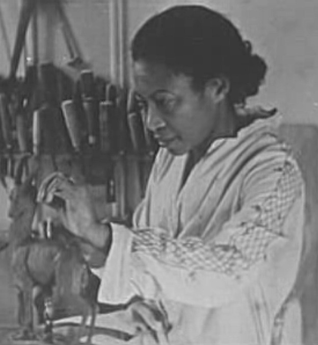 Augusta Savage at work in her studio in Harlem in the 1920s/1930s.