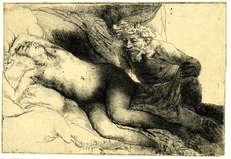 Dibujo-Rembrandt-Jupiter-Antíope