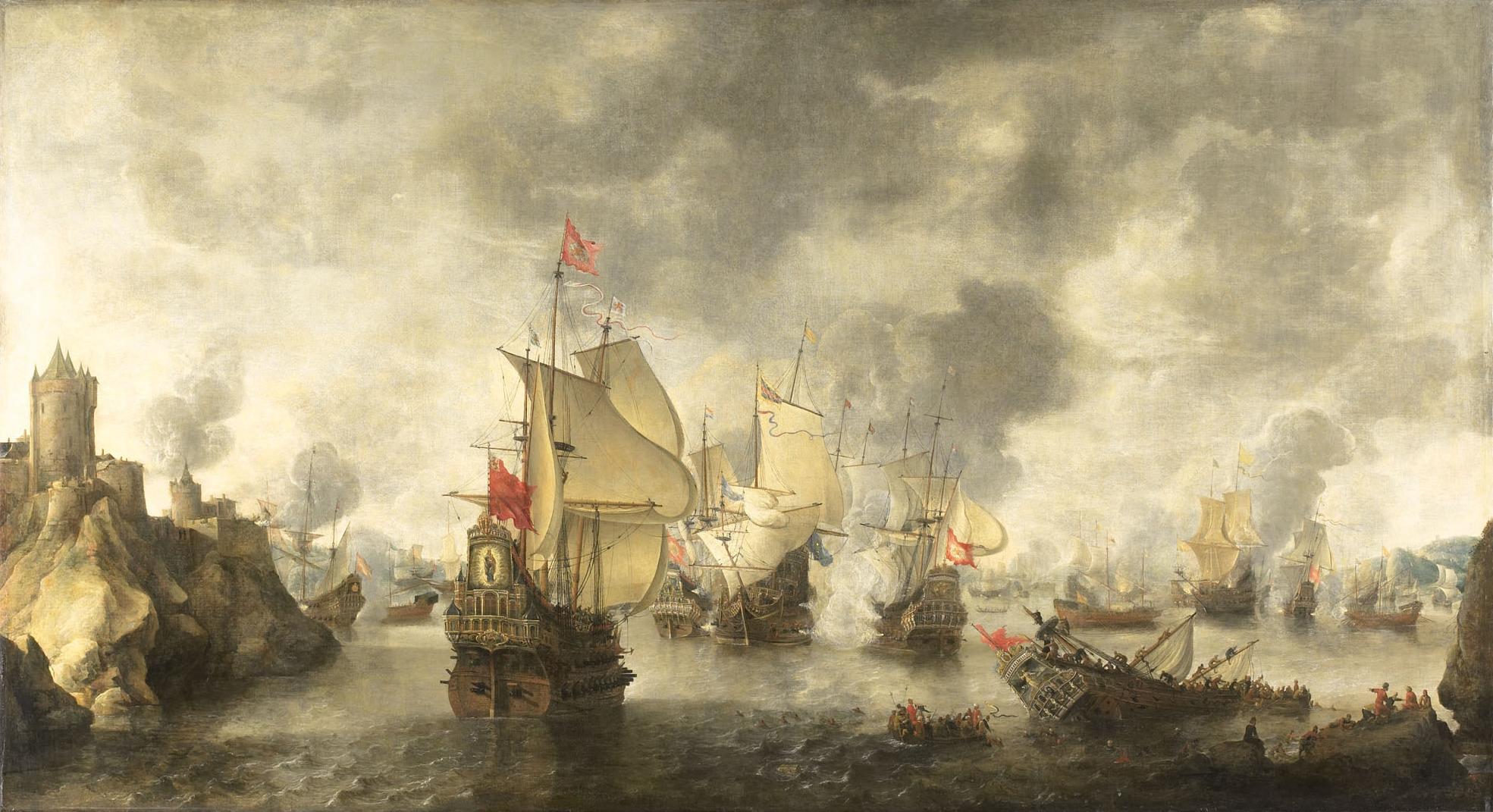 مفهوم الشبحية و تطبيقها في المجال البحري  Battle_of_the_combined_Venetian_and_Dutch_fleets_against_the_Turks_in_the_Bay_of_Foja_1649_%28Abraham_Beerstratenm,_1656%29