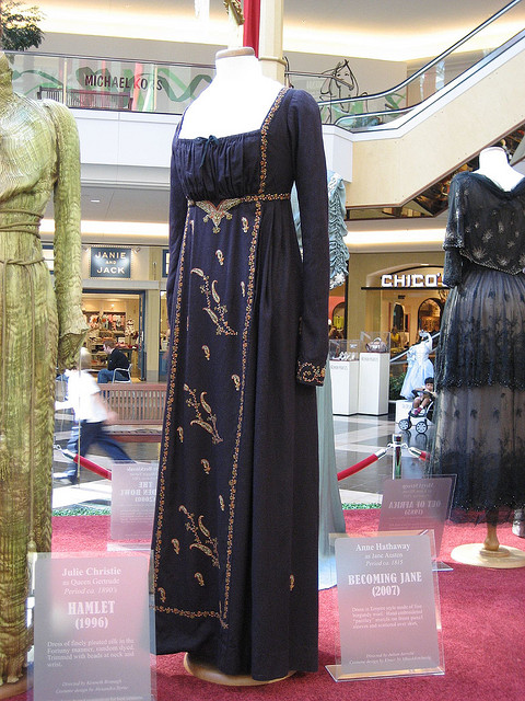 A costume from the film worn by Anne Hathaway. Becoming Jane costume display.jpg