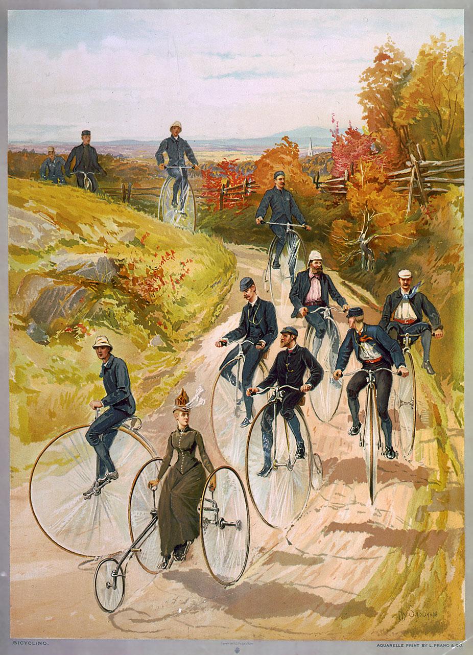 Radfahrer_innengruppe um 1887 - Quelle: WikiCommons