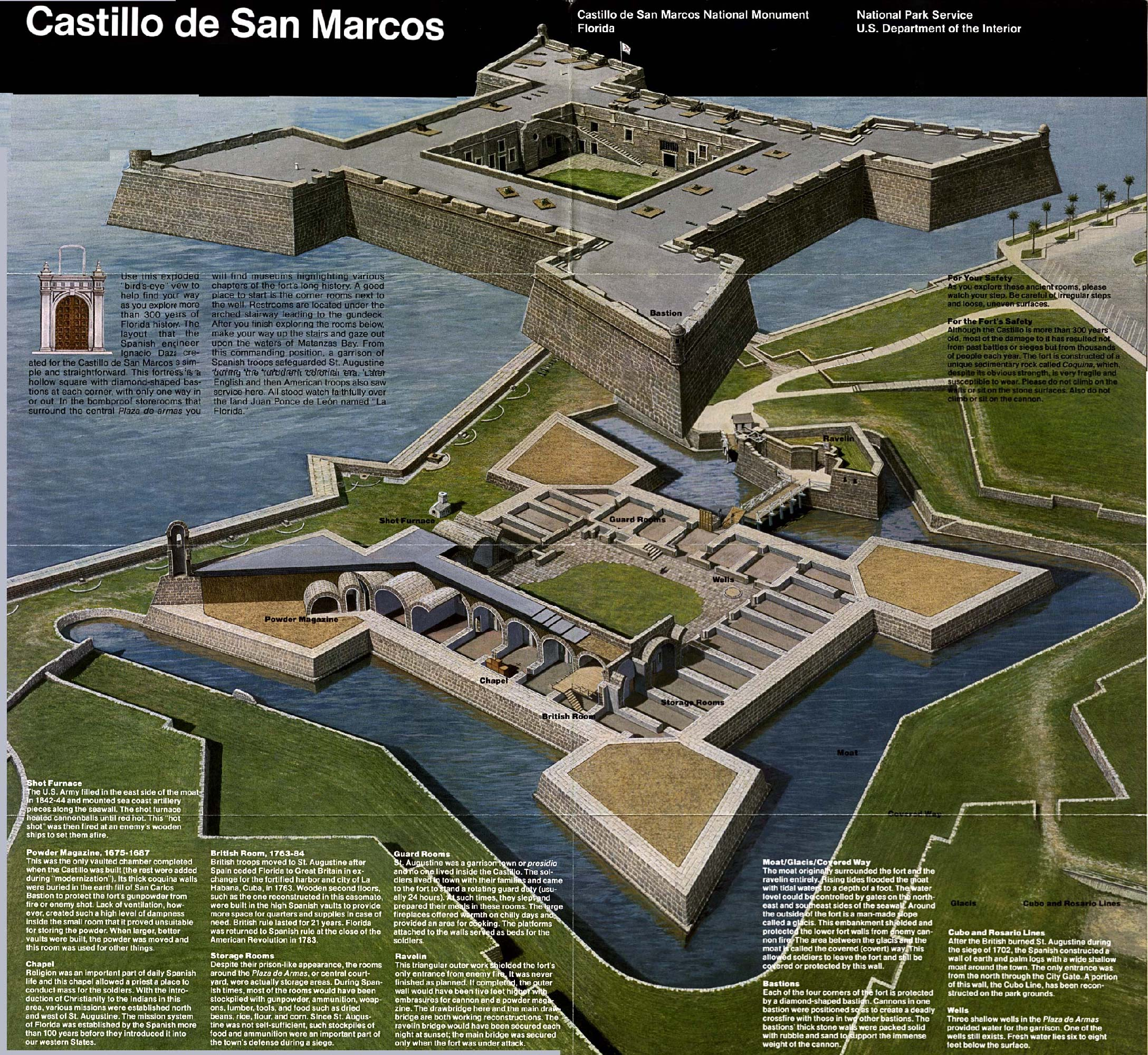 National Park Service brochure showing an exploded view drawing of Castillo de San Marcos.