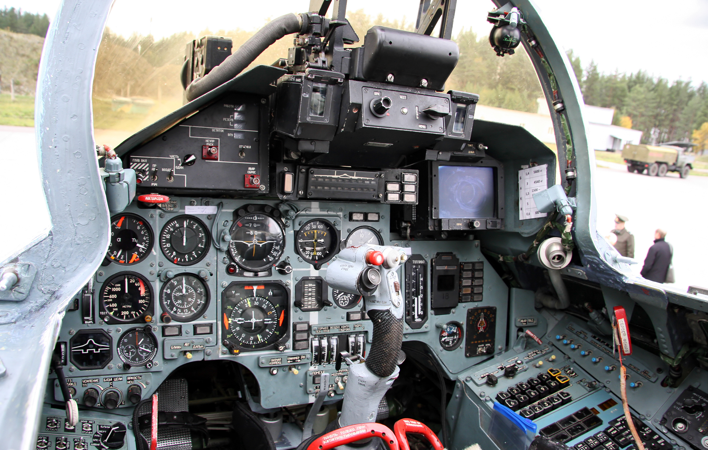 The avionics suite inside an Su-27 Flanker. (Photo from Wikimedia)