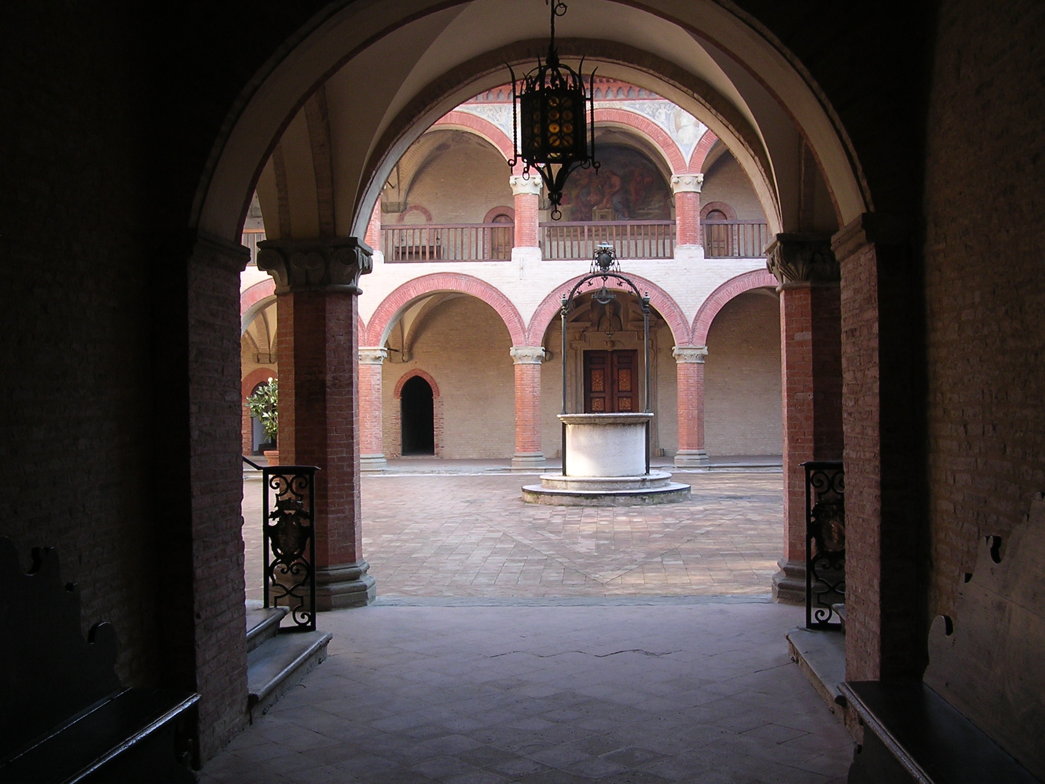 Interior view of the Porticum and Loggia of its oldest College the Royal Spanish College