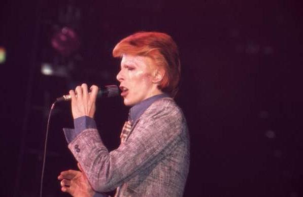 Bowie en una actuación el 11 de noviembre de 1974 en Washington D. C.