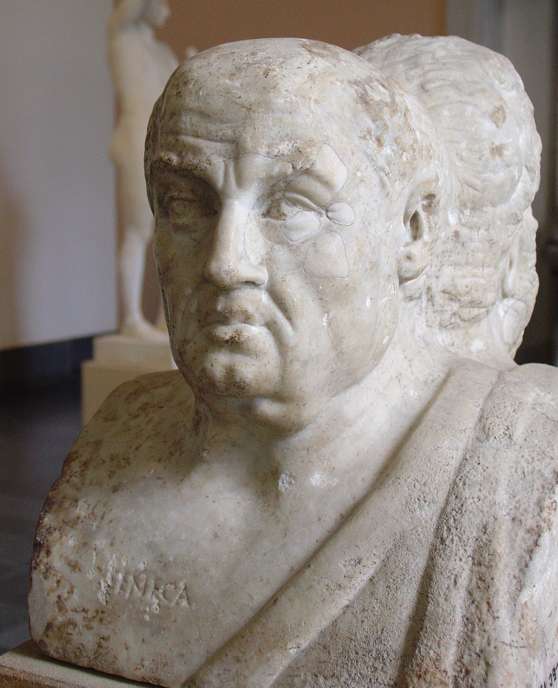 Ancient bust of Seneca, part of the [[Double Herm of Socrates and Seneca]] ([[Antikensammlung Berlin]])