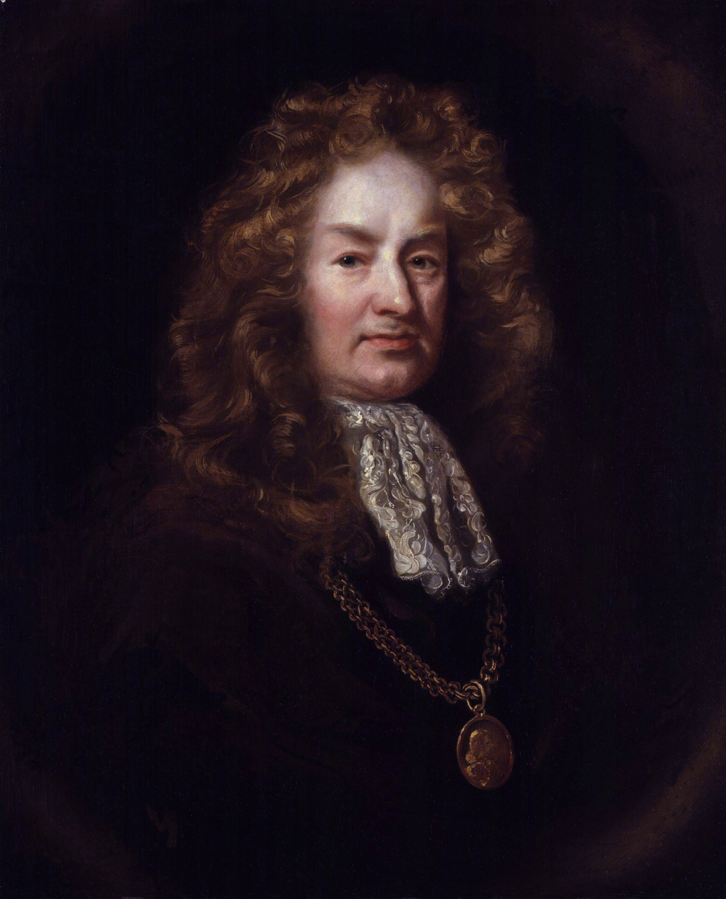 Elias Ashmole by an unknown artist (detail), c. 1688, after the portrait by [[John Riley (painter)|John Riley]], below.<br />[[National Portrait Gallery (United Kingdom)]]