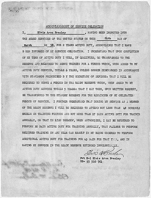 Documento que acredita el alistamiento de Presley en el ejército estadounidense, en marzo de 1958.