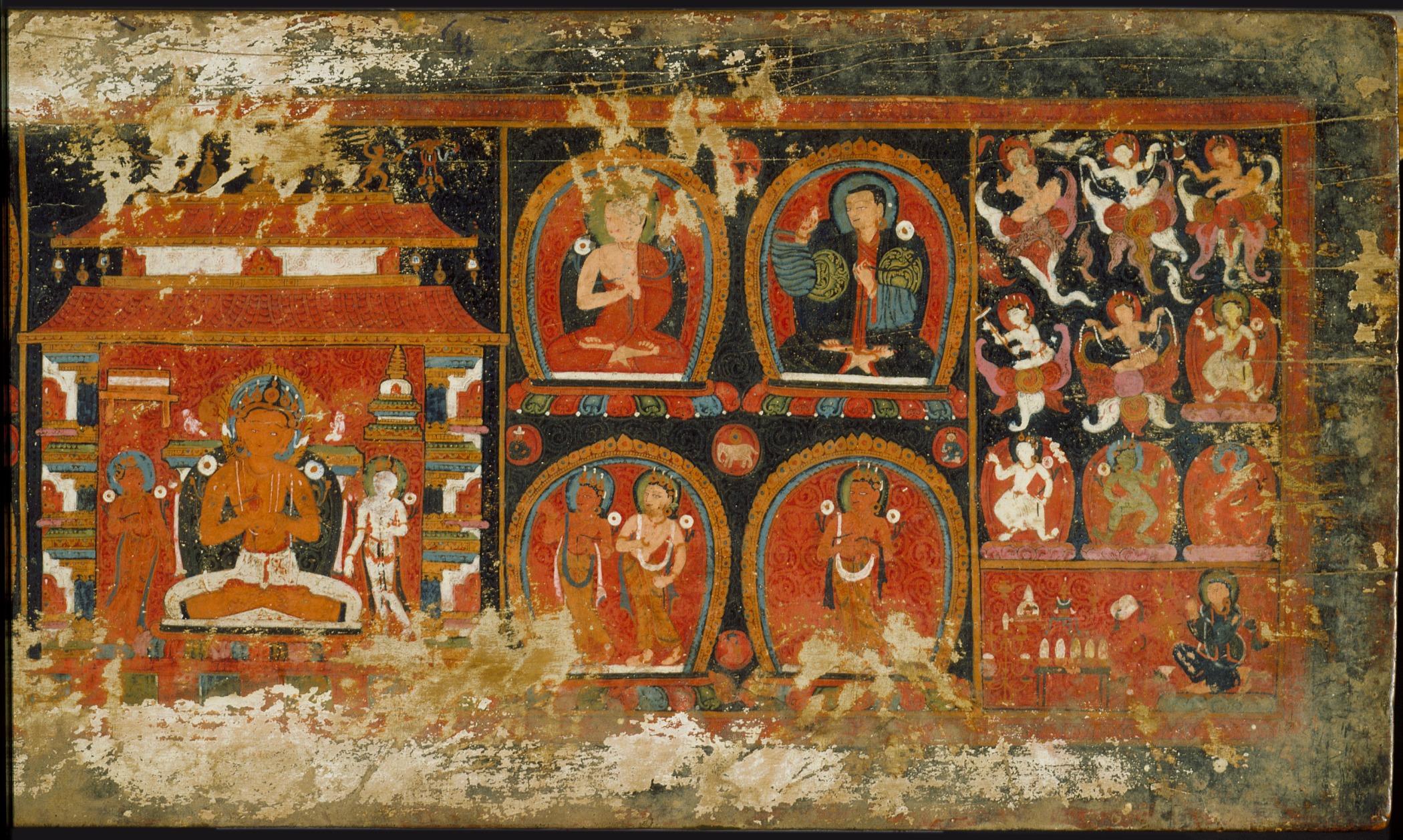 Enshrined Manjushri with Monks and Deities, Cover of a Prajnaparamita (The Perfection of Wisdom) Sutra