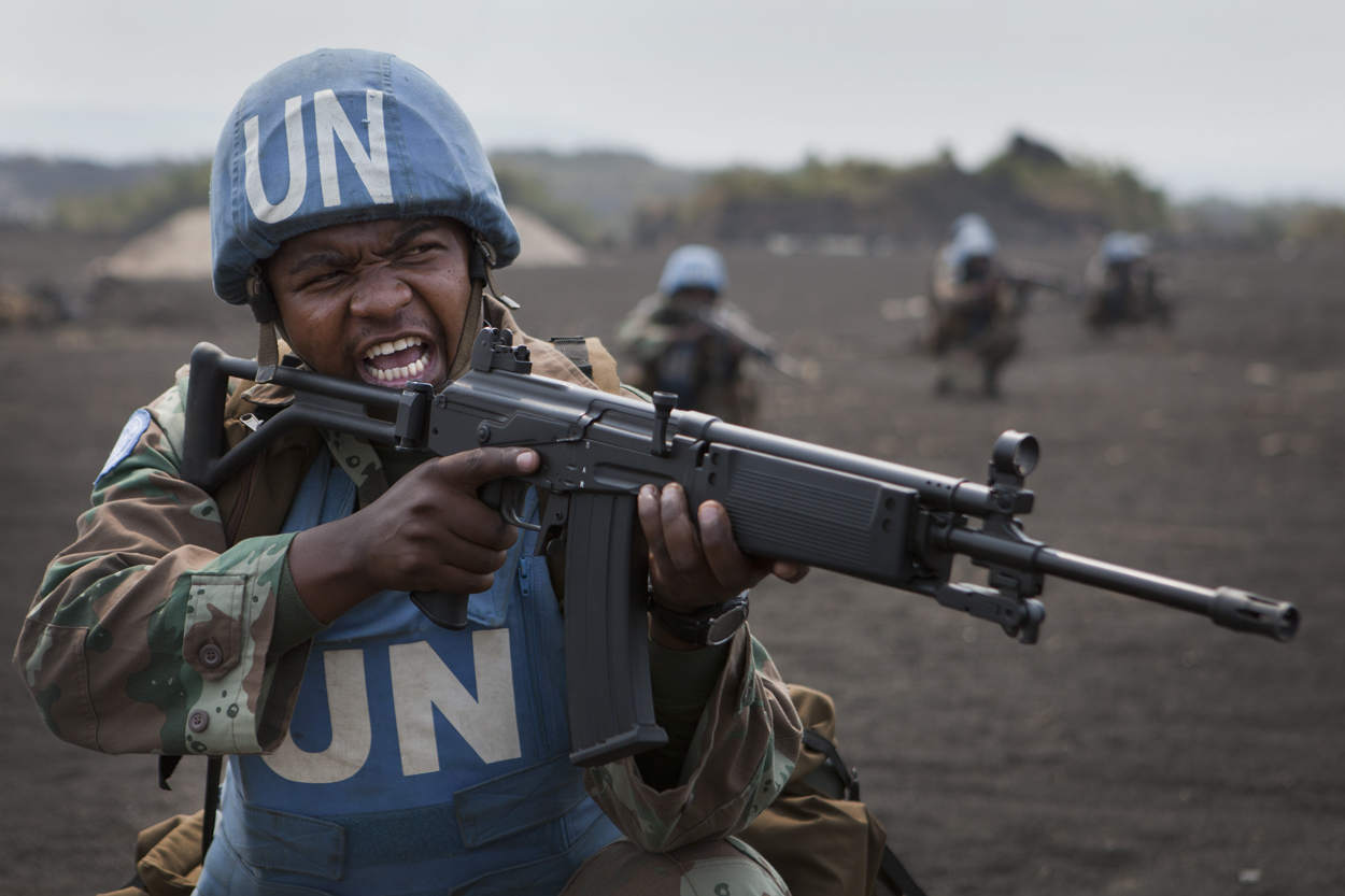 South African Soldier serving as part of the United Nations Force Intervention Brigade in the Democratic Republic of the Congo.