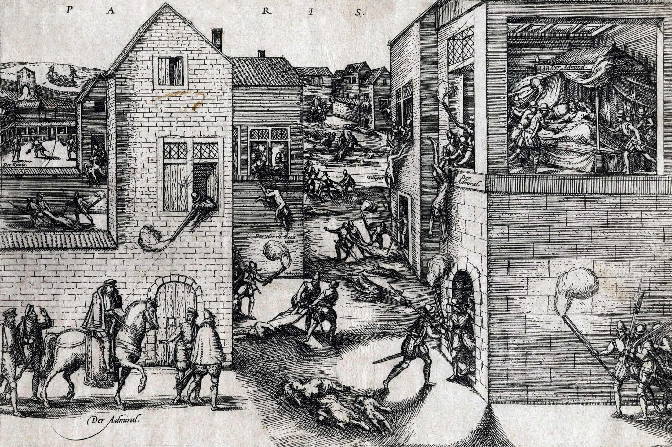 This popular print shows the attempted assassination of Coligny at left, his subsequent murder at right, and scenes of the general massacre in the streets.