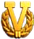 "Gold ""V"" with wreath device for six or more awards"