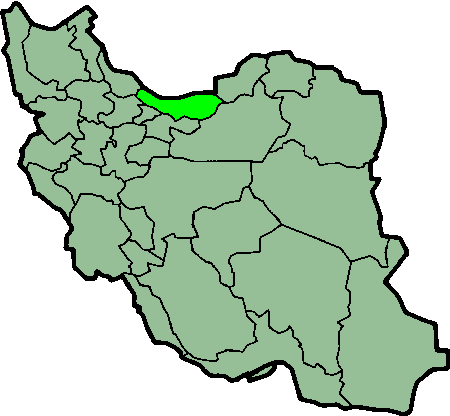 Map of Iran with Mâzandarân highlighted.