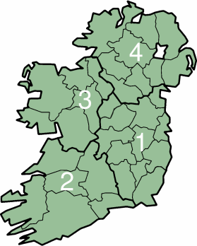 A map of Ireland indicating the four provinces, and thirty-two counties