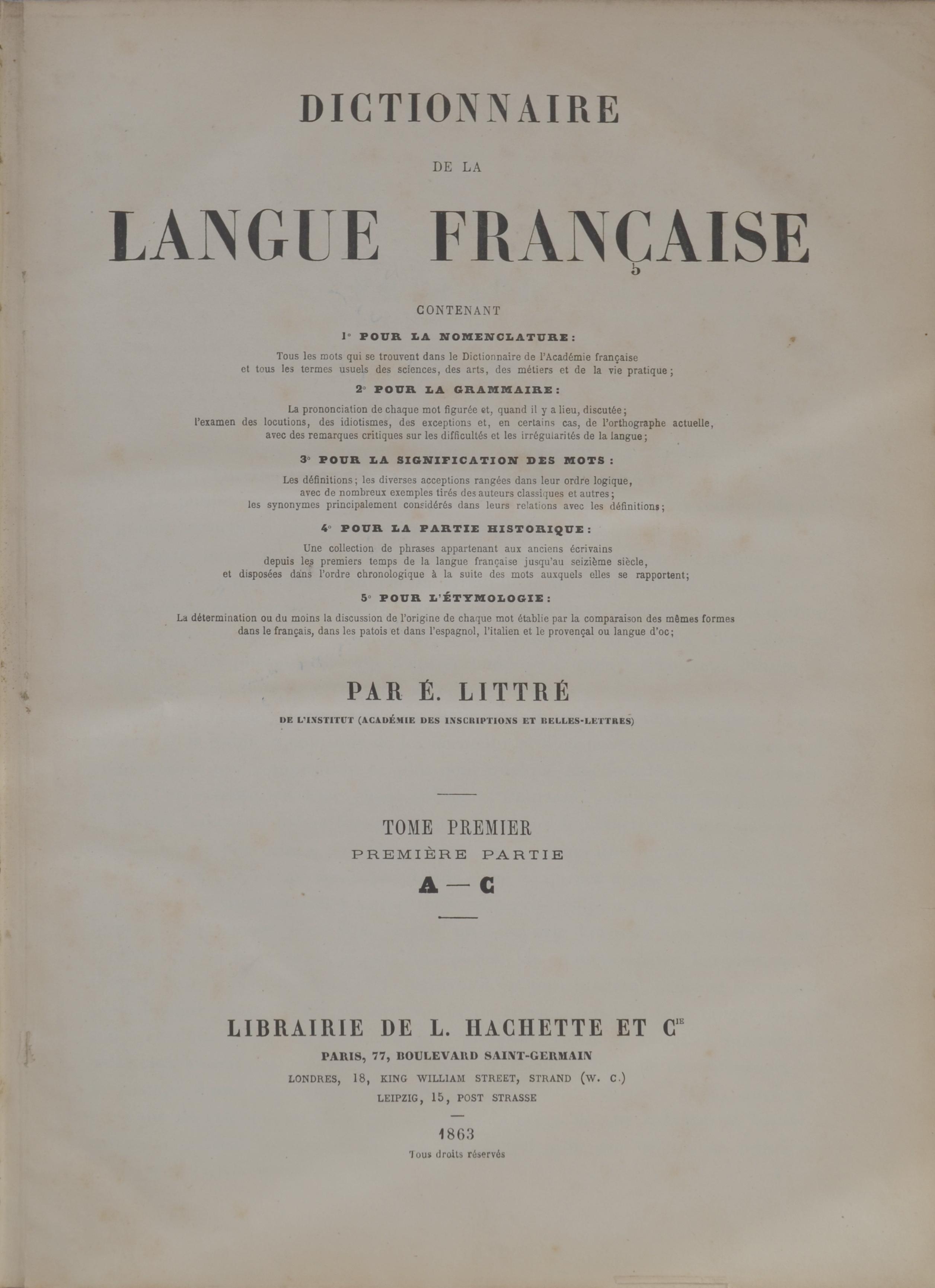 Dictionnaire De La Langue Francaise Wikipedia